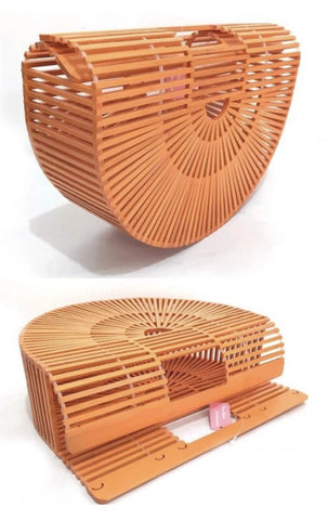 Orange Boho Bamboo Clutch