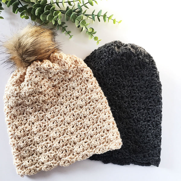 Free Crochet Pattern for Slouch Hat with Faux Fur Pompom