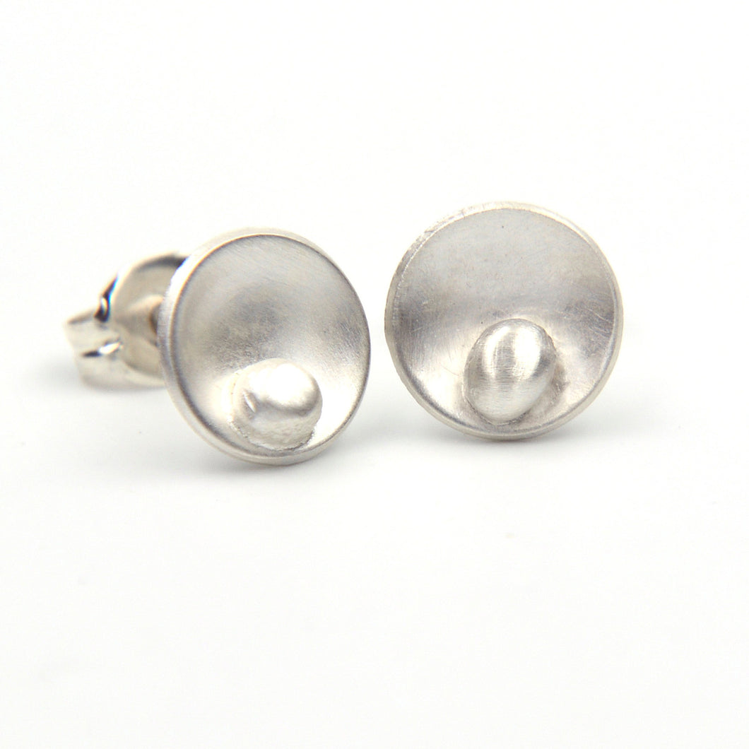 Silver Pod Stud Earrings