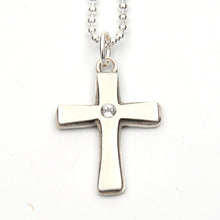 Load image into Gallery viewer, Chunky Cross Pendant with White Topaz
