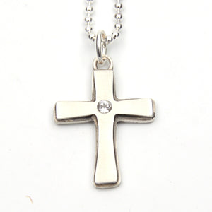 Chunky Cross Pendant with White Topaz