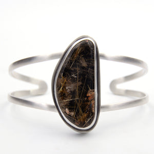 Custom Rutile Quartz and Sterling Silver Cuff for B.