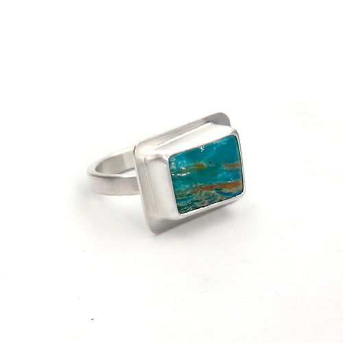 Peruvian Opal Picture Ring - Size 6.5