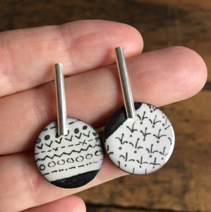 Mismatched Sketches Enamel Earrings