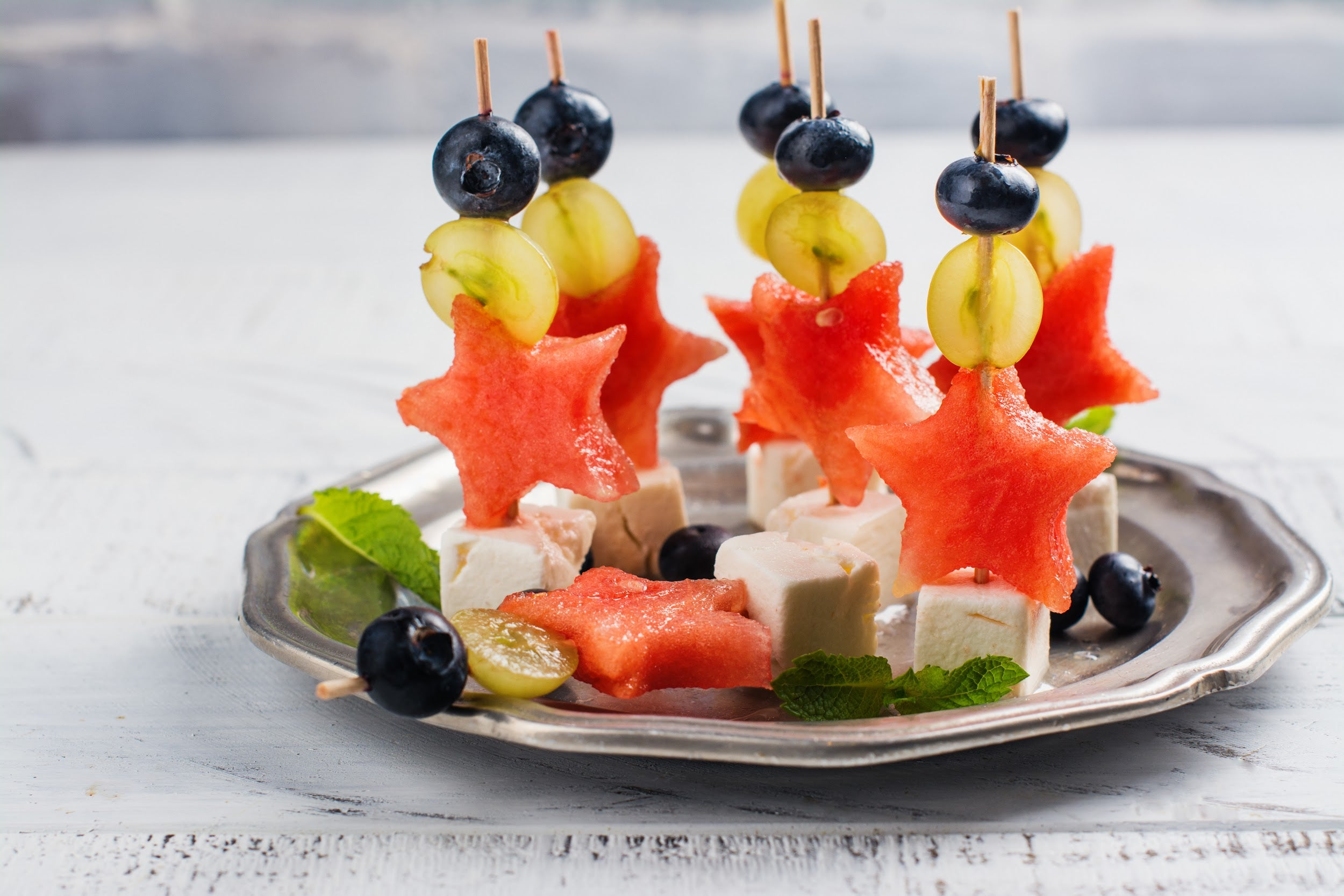 fruit and cheese skewers for kids