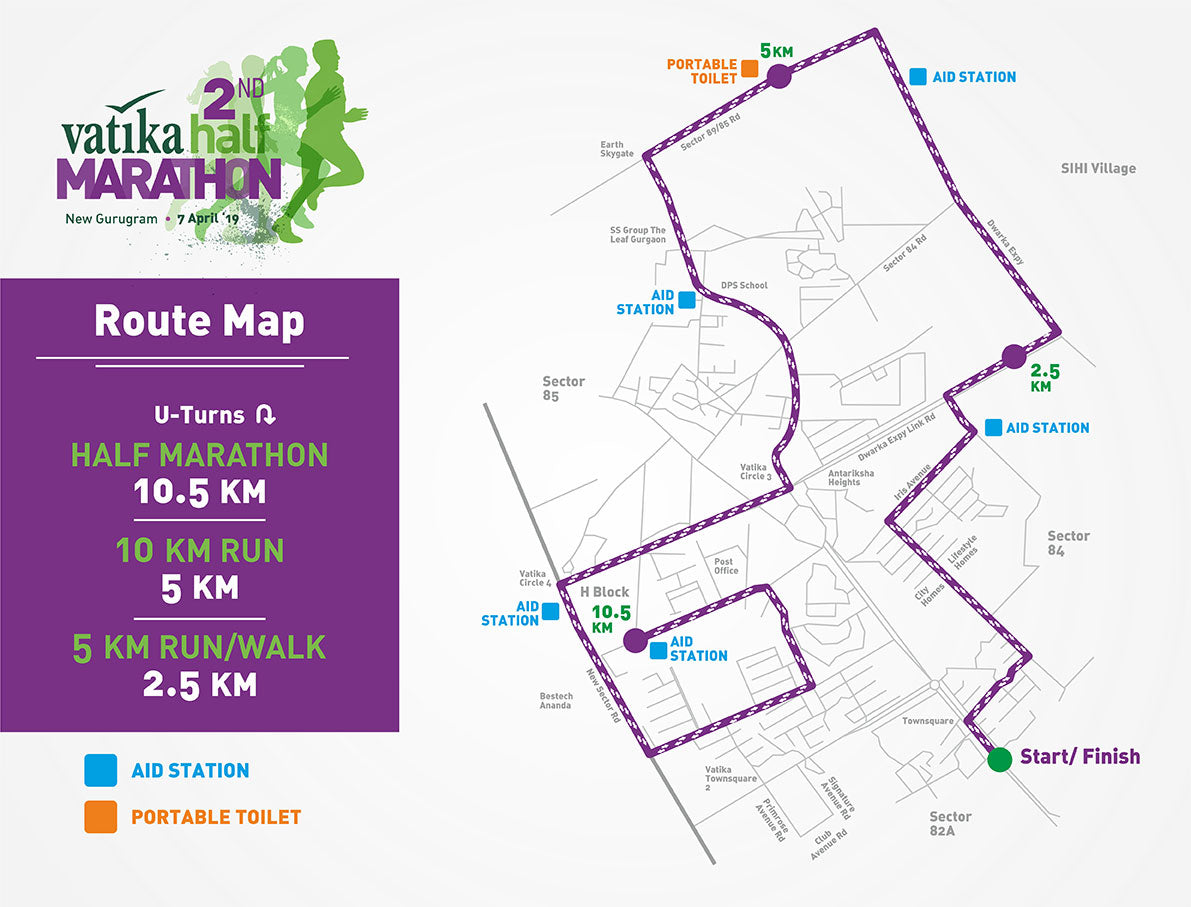 Route Map - Vatika Half Marathon 2019