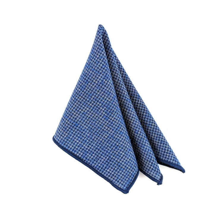Brock Alexander | Men's Cotton Pocket Square | Blue and Navy Pocket Square | Classic Handkerchief