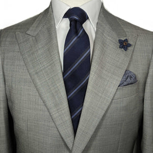Men's Tie on Suit - Navy and Blue Striped Tie - Menswear Accessories with Suit | Brock Alexander