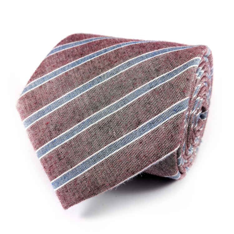 Men's Maroon and Blue Striped Cotton Necktie | 100% Cotton Necktie | Maroon and Blue Necktie | Brock Alexander