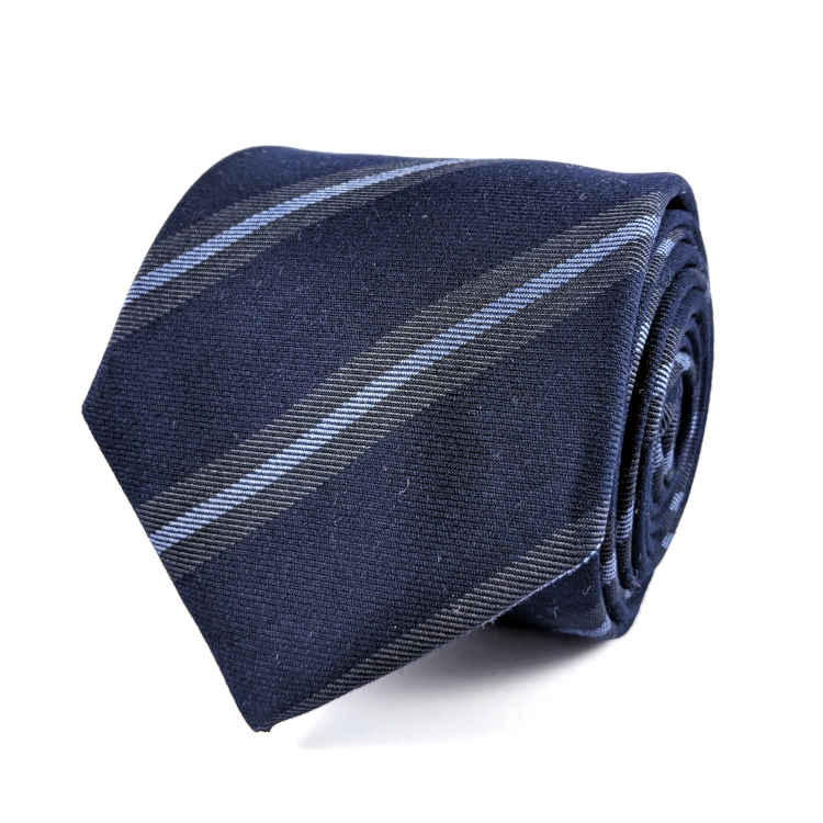 Men's Navy and Blue Cotton Necktie | 100% Cotton Necktie | Navy and Blue Striped Necktie | Brock Alexander