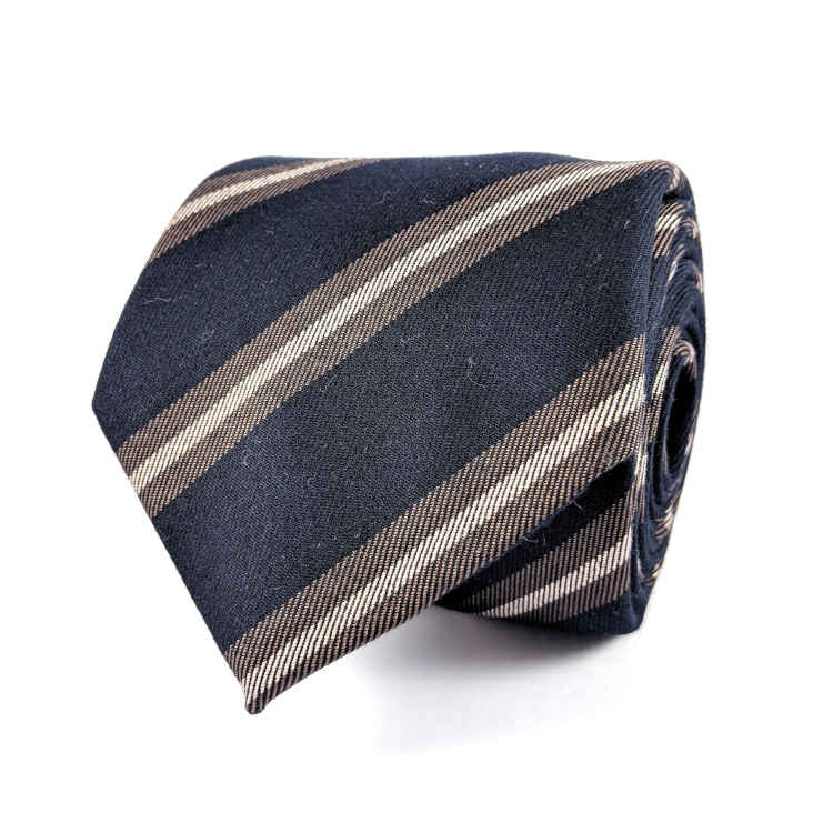 Men's Blue and Brown Cotton Necktie | 100% Cotton Necktie | Navy Blue and Brown Striped Necktie | Brock Alexander