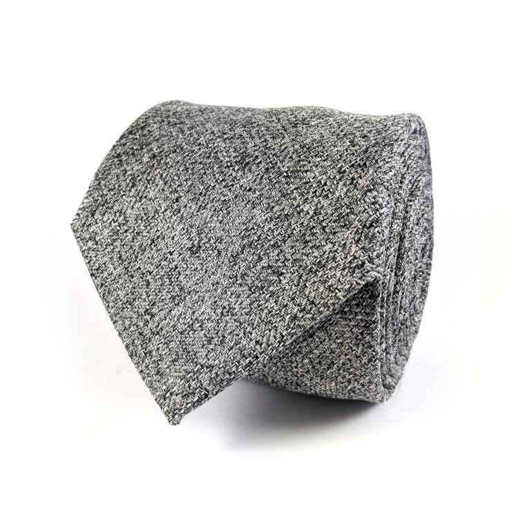Men's Grey Cotton Necktie | 100% Cotton Necktie | Grey Herringbone Necktie | Brock Alexander