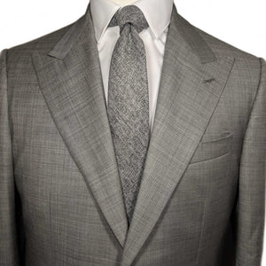 Grey Herringbone Necktie and Suit | Men's suit with necktie | Buy men's neckties |100% Cotton Necktie