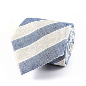 Men's Blue and Light Grey Cotton Necktie | 100% Cotton Necktie | Blue and Grey Striped Necktie | Brock Alexander