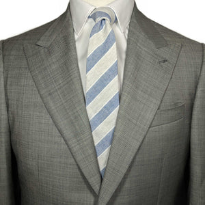 Blue and Grey Striped Necktie and Suit | Men's suit with necktie | Buy men's neckties |100% Cotton Necktie