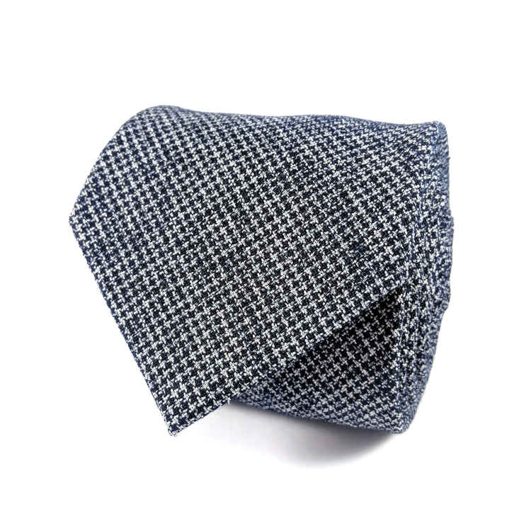 Men's Navy and White Cotton Necktie | 100% Cotton Necktie | Navy Blue and white textured Necktie | Brock Alexander