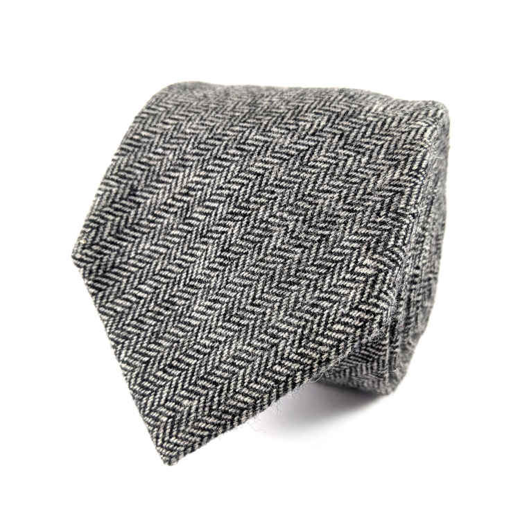 Men's Grey Herringbone Wool Necktie | 100% Wool Necktie | Charcoal Necktie | Brock Alexander
