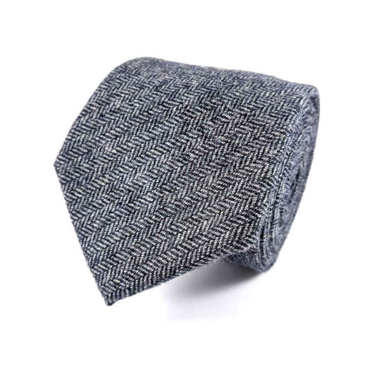 Men's Blue Herringbone Wool Necktie | 100% Wool Necktie | Navy Blue Necktie | Brock Alexander