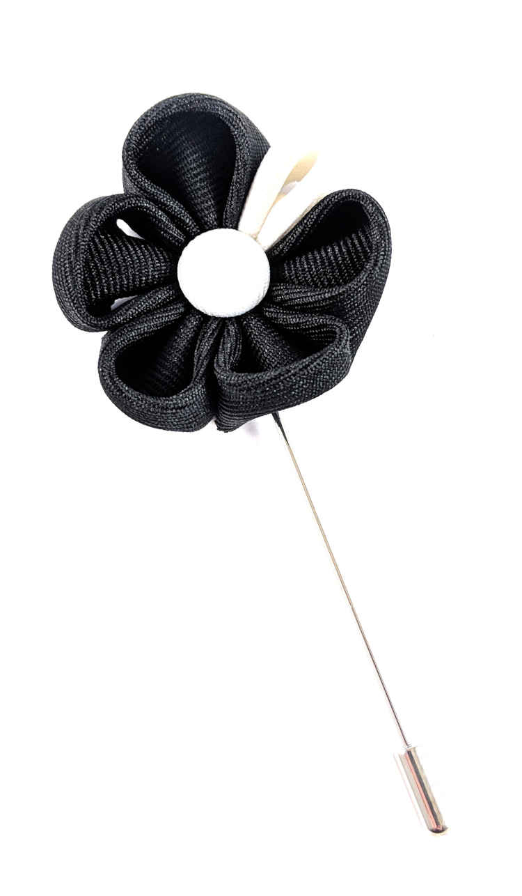 Men's Black and White Lapel Flower | Suit Pin | Black and White Lapel Pin | Classic Lapel Pins | Brock Alexander