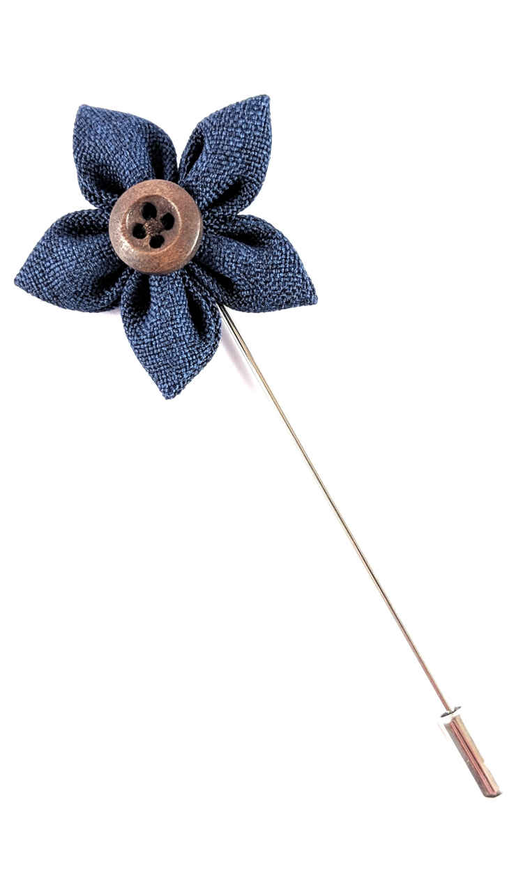 Mens Blue Lapel Flower | Suit Pin | Blue Lapel Pin | Classic Lapel Pins | Brock Alexander