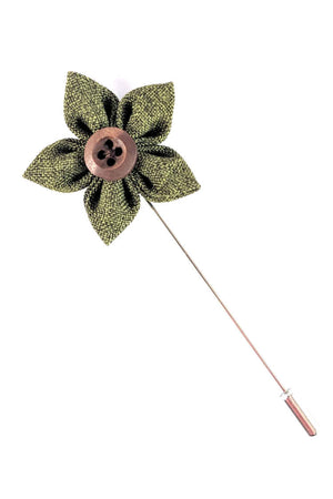 Mens Green Lapel Flower | Suit Pin | Green Lapel Pin | Classic Lapel Pins | Brock Alexander