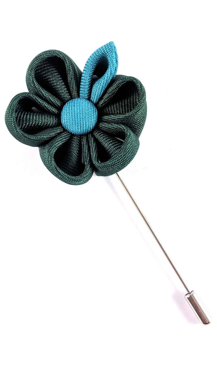 Men's Green and Turquoise Lapel Flower | Suit Pin | Green and Turquoise Lapel Pin | Classic Lapel Pins | Brock Alexander