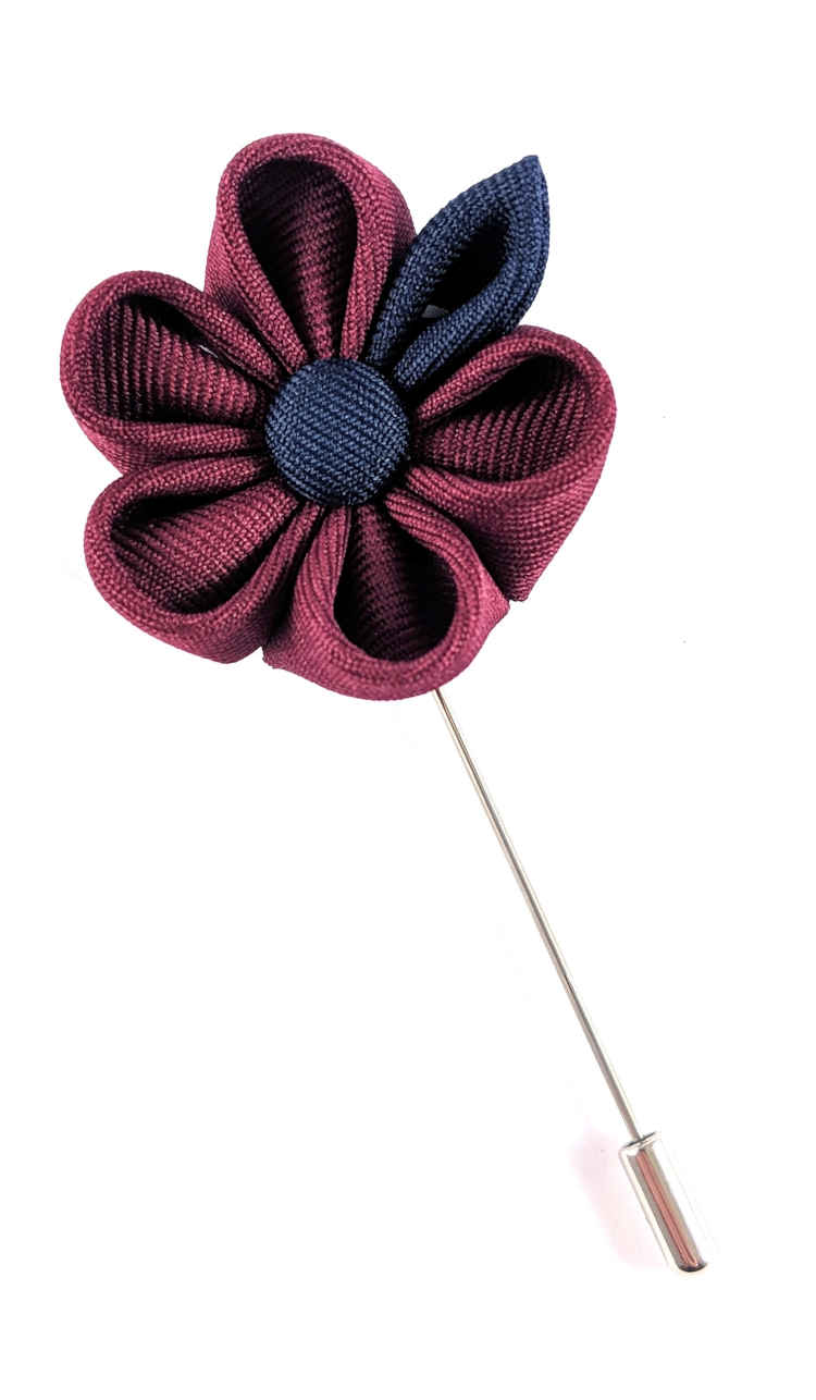 Men's Maroon and Navy Lapel Flower | Suit Pin | Maroon and Navy Lapel Pin | Classic Lapel Pins | Brock Alexander