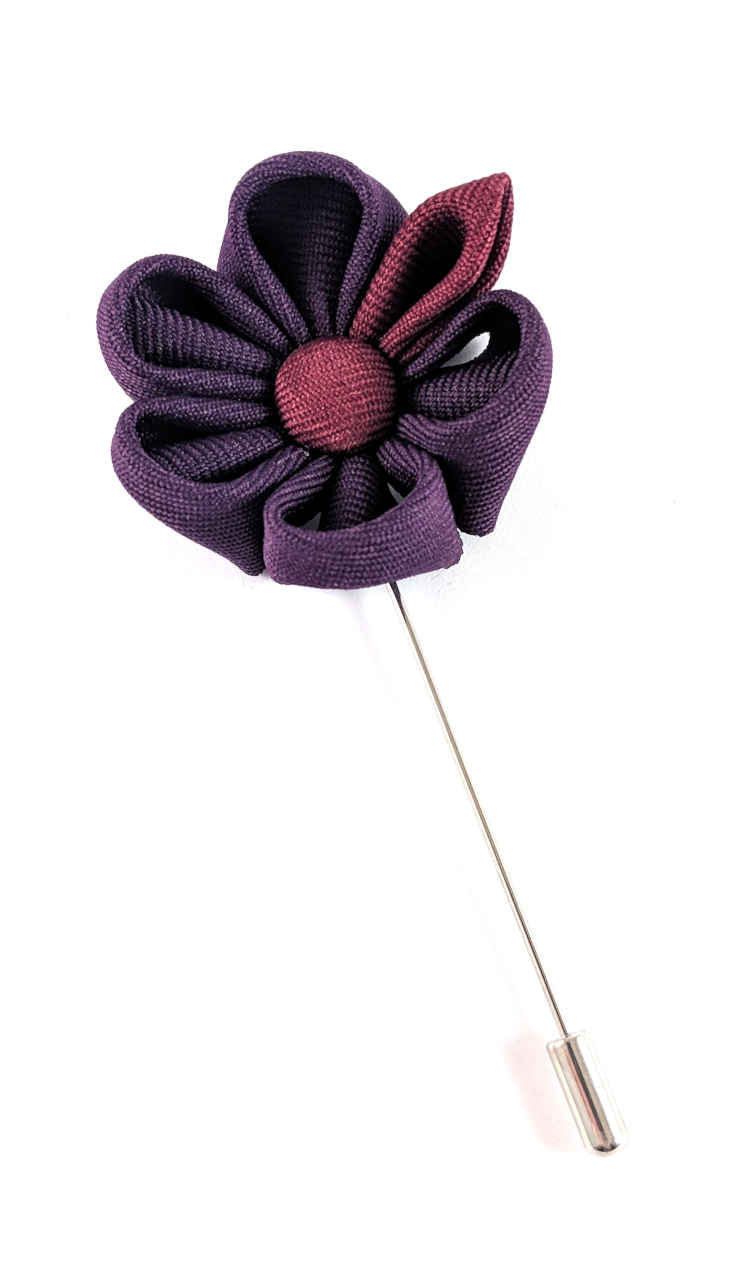 Men's Purple and Maroon Lapel Flower | Suit Pin | Purple and Maroon Lapel Pin | Classic Lapel Pins | Brock Alexander