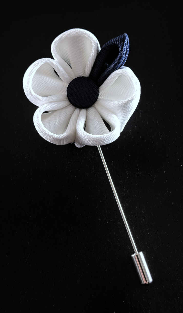Men's White and Navy Lapel Flower | Suit Pin | White and Navy Lapel Pin | Classic Lapel Pins | Brock Alexander