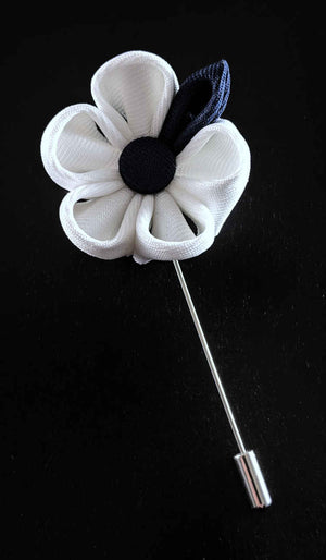 Mens White and Navy Lapel Flower | Suit Pin | White and Navy Lapel Pin | Classic Lapel Pins | Brock Alexander