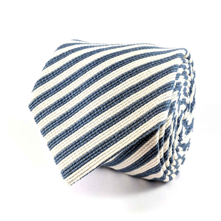 Men's Blue and White Cotton Necktie | 100% Cotton Necktie | Blue and White Striped Necktie | Brock Alexander