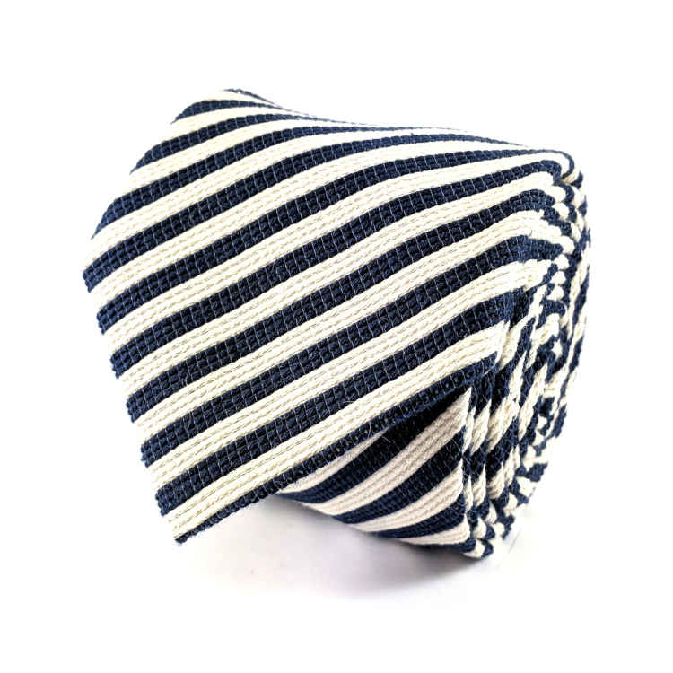Men's Blue and white stripe Cotton Necktie | 100% Cotton Necktie | Navy Blue and white stripe Necktie | Brock Alexander