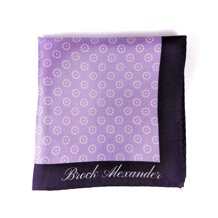 Brock Alexander | Men's Silk Pocket Square | Purple with White Flowers Pocket Square | Classic Handkerchief