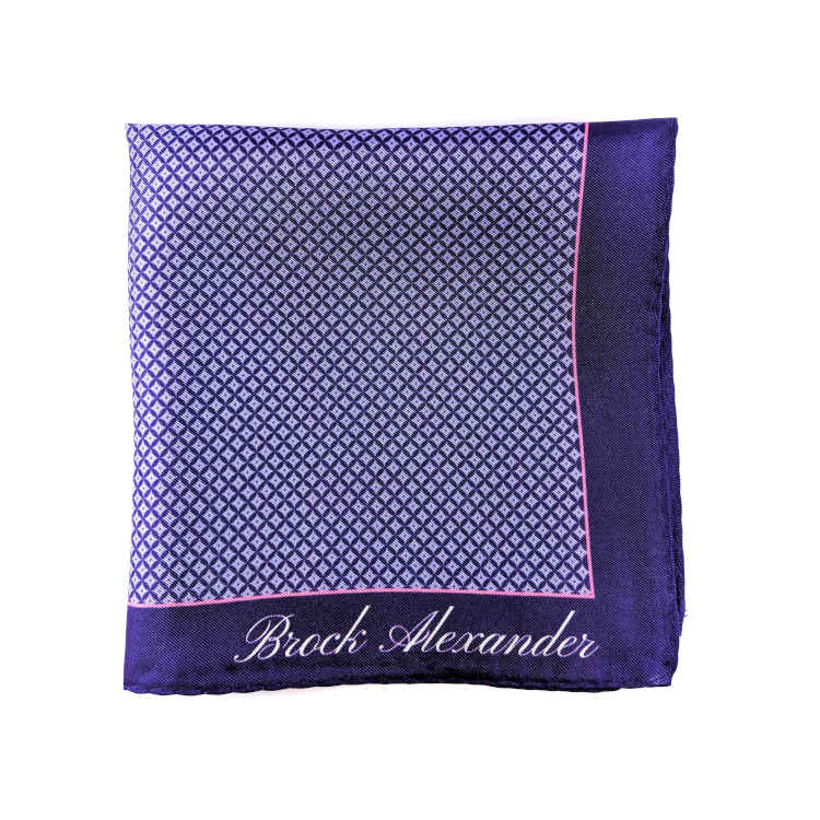Brock Alexander | Men's Silk Pocket Square | Purple and White Spotted Pocket Square | Classic Handkerchief
