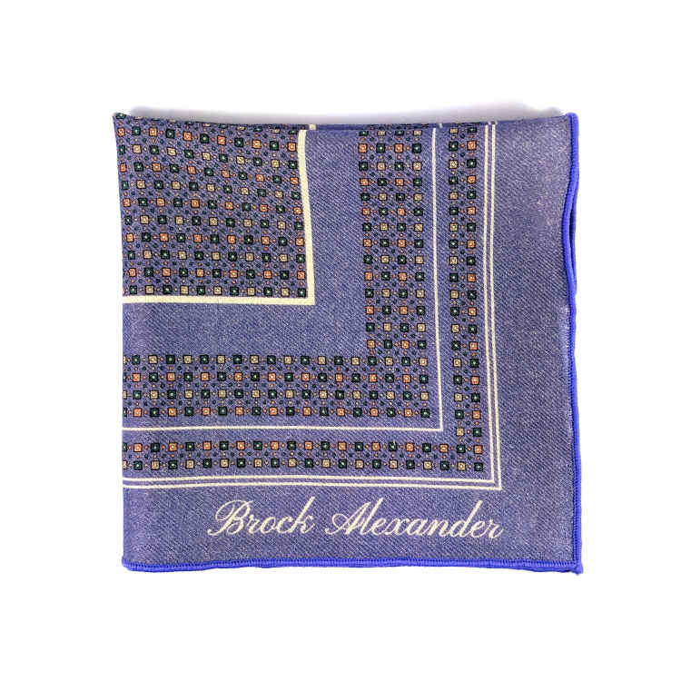 Brock Alexander | Men's Wool Pocket Square | Purple Patterned Pocket Square | Classic Handkerchief
