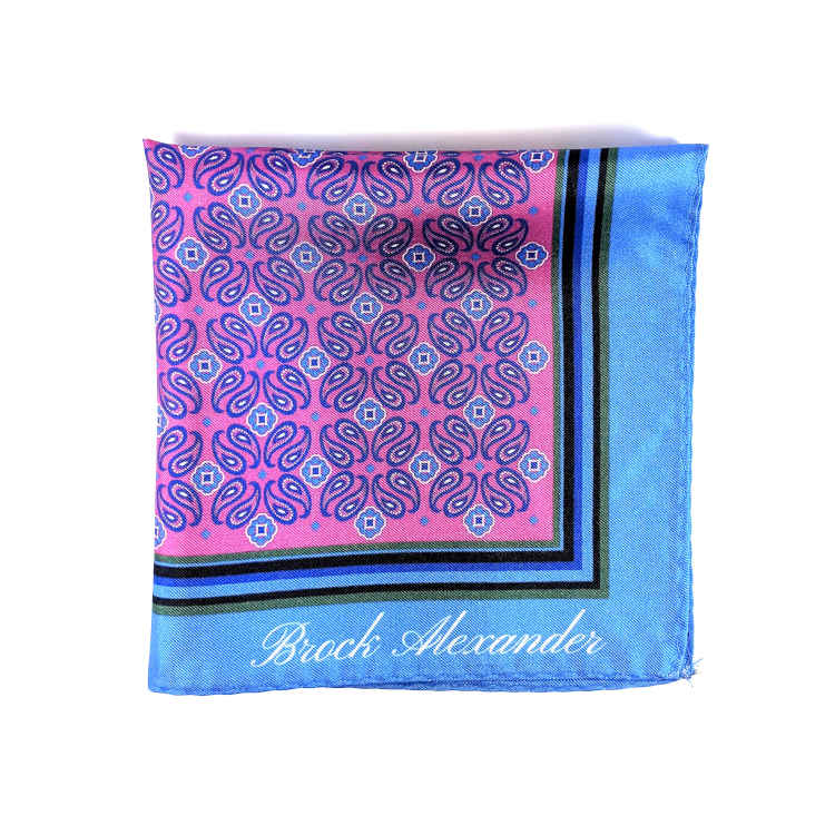 Brock Alexander | Men's Silk Pocket Square | Pink and Blue Patterned Pocket Square | Classic Handkerchief