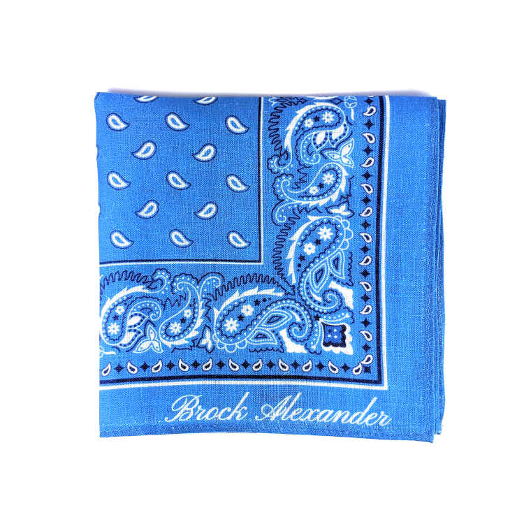 Brock Alexander | Men's Linen Pocket Square | Blue Paisley Patterned Pocket Square | Classic Handkerchief