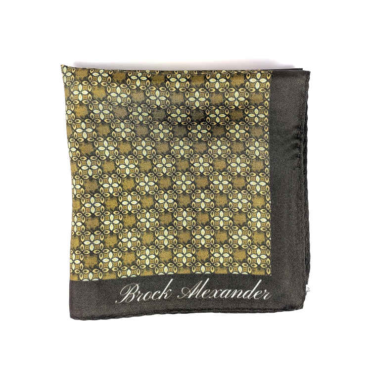 Brock Alexander | Men's Silk Pocket Square | Green Patterned Pocket Square | Classic Handkerchief