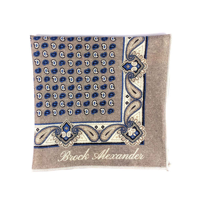 Brock Alexander | Men's Wool Pocket Square | Beige and Blue Patterned Pocket Square | Classic Handkerchief