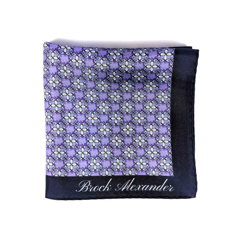 Brock Alexander | Men's Silk Pocket Square | Purple Patterned Pocket Square | Classic Handkerchief