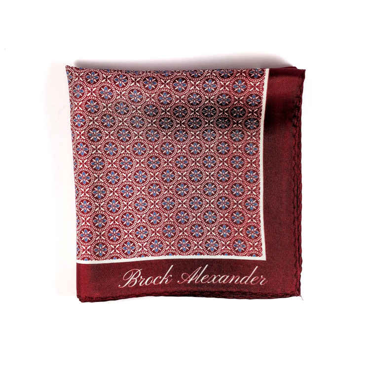 Brock Alexander | Men's Silk Pocket Square | Red Patterned Pocket Square | Classic Handkerchief