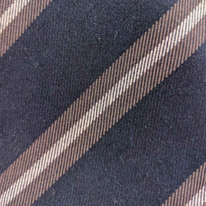 Navy and Brown Striped Fabric | 100% cotton necktie fabric | Fabric Detail | Brock Alexander