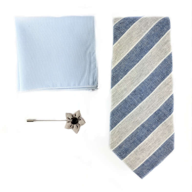 Men's Light Grey and Blue accessory set | Grey and Blue Striped Necktie, Pocket Square & Lapel Flower | Brock Alexander
