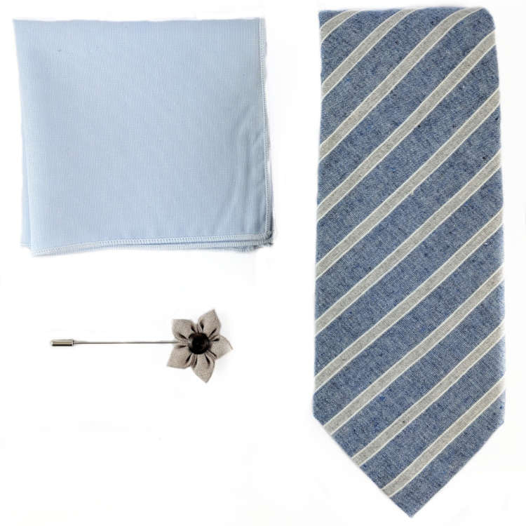 Men's Blue and Grey Accessory Set | Blue and Grey Striped Necktie, Pocket Square & Lapel Flower | Brock Alexander
