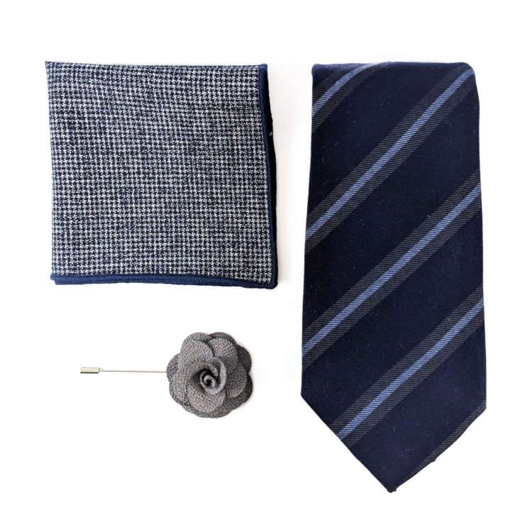 Men's Navy and Blue Accessory Set | Navy and Blue Striped Necktie, Pocket Square & Lapel Flower | Brock Alexander