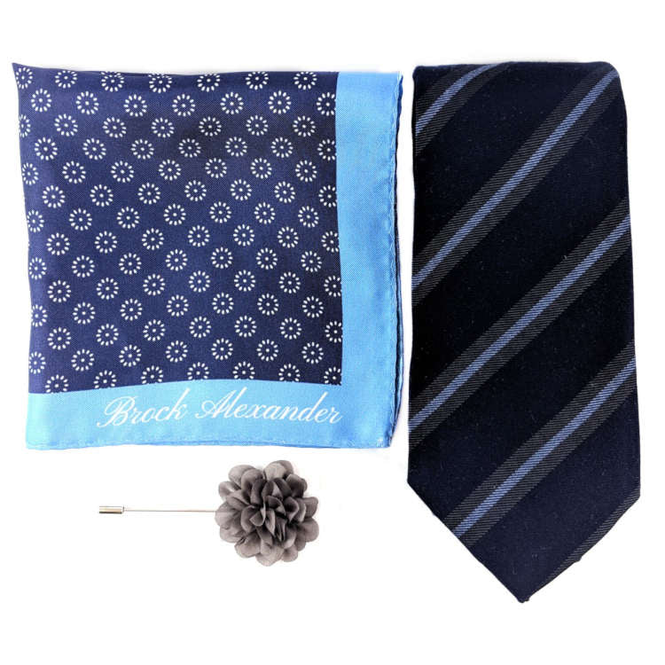 Men's Navy and Blue Accessory Set | Navy and Blue Striped Necktie, Silk Pocket Square & Lapel Flower | Brock Alexander