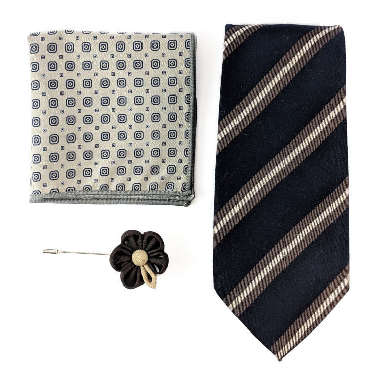 Men's Navy and Brown Accessory Set | Navy and Brown Striped Necktie, Pocket Square & Lapel Flower | Brock Alexander
