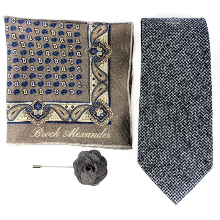 Men's Navy and Beige Accessory Set | Navy and White Textured Necktie, Pocket Square & Lapel Flower | Brock Alexander