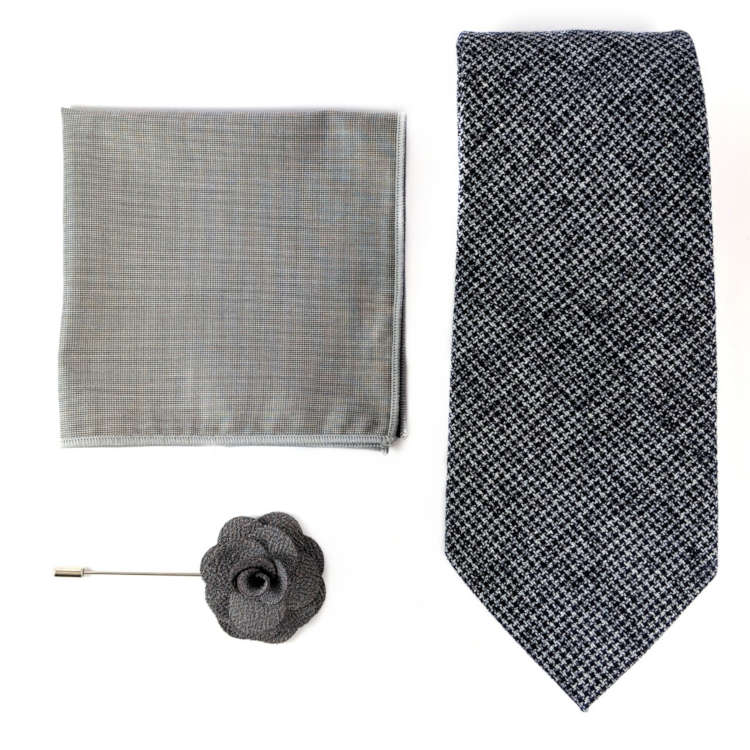 Men's Navy and Grey Accessory Set | Navy and White Textured Necktie, Pocket Square & Lapel Flower | Brock Alexander