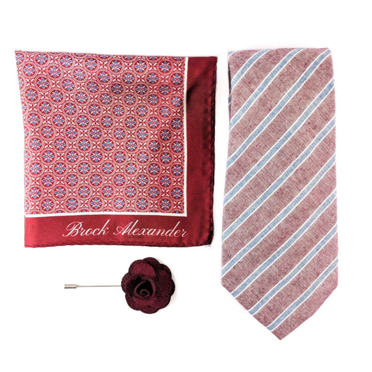 Men's Red and Blue Accessory Set | Red and Blue Striped Necktie, Silk Pocket Square & Lapel Flower | Brock Alexander